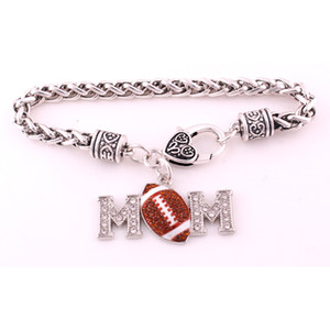 Hot Selling Antique Sliver Plated Zinc Studded With Sparkling Crystal Rhinestone MOM FOOTBALL Pendant Charm Wheat Bracelet