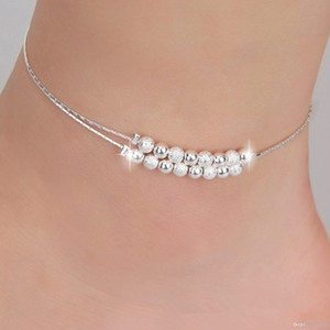 Bracelets de cheville sexy bijoux de plage nouvelle en argent Sterling 925 Double couches bracelets de cheville pour les femmes Boot Foot bijoux