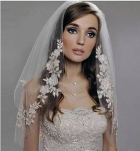 Elfenbein Appliques Perlen zwei Schichten Tüll spezielle nach Maß neue kommende Hochzeit liefert Brides Veil New Beautiful