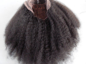 Yeni Gelmesi İnsan Virgin Remy Brezilyalı Saç Dantel Ön Tam Dantel Afro Kıvırcık Peruk Doğal Siyah Renk Yumuşak Bebek Saç