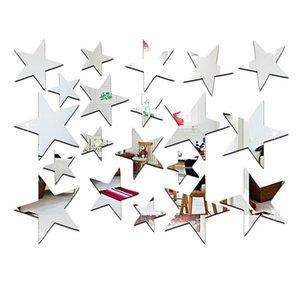 20 pçs / set Sliver 3D Acrílico Adesivos de Parede Barato Espelho Decorativo Superfície Decalque em Forma de Estrela Art Papel Home Office Decor