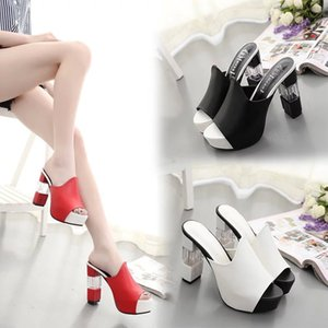 2018 new thick high-heeled waterproof platform sandals female manual summer thick bottom shoes Korean large size female sandals