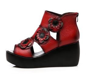 2019 Etnik Stil Kadın Hakiki Deri Yüksek Topuk Platformu Sandalet Bayan Takozlar Sandalet Güzel Yaz Ayakkabı 1nx19