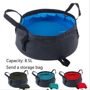 Paquetes de 8.5L de agua portátil plegable ultraligera de almacenamiento Lavabo Cubo al aire libre que va de excursión de pesca de lavado cuenca herramienta de la supervivencia LF006