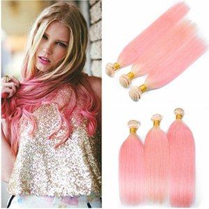 Silky Straight # 613 / Rose Ombre Vierge Péruvienne Bundles de cheveux humains Offres 3Pcs Lot Blonde et Rose Ombre Cheveux Humains Weaves Extensions