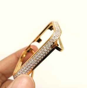 Bling bling diamantes caixa de metal para apple watch iWatch S1 / S2 / S3 SportsEdition versão não-cerâmica se encaixa no maior tamanho 42MM Gold