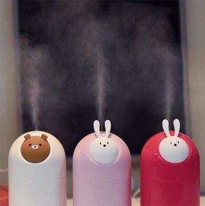 USB 만화 가습기 초음파 곰 토끼 공기 가습기 안개 제조 업체 미니 동물 공기 청정기 바탕 화면 장식 280ml