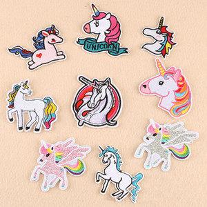 Stickerei Einhorn Patch Cartoon Eisen auf Tier Patches für Kinder Kleidung Applique Pailletten Patches Aufbügeln