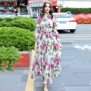 Svoryxiu hochwertige frauen sommer strand chiffon maxi dress elegante elastizität taille blumendruck runway maxi long dress