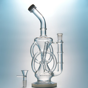 """Wholesale 11"""" Inline Perc Water Pipes Recycler Glass Bongs 14.5mm Female Joint Oil Dab Rigs Bent Type Hookahs DHL Free DGC1236"""