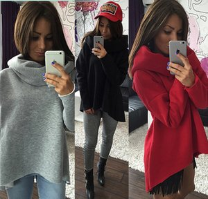 Women's plus velvet sweater shirt solid color hood loose irregular scarf collar long sleeve thick clothes
