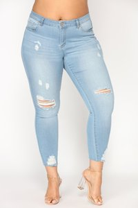 Mid Waist Ripped Jeans For Women Denim Plus Size Distressed Knee Cut Frayed Hem Skinny Stretchy Pencil Pants