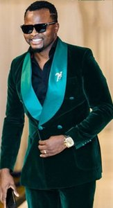 New Fashion Dark Green Velvet Groom Tuxedos Excellent Double-Breasted Groomsmen Blazer Men Formal Suit Party Prom Suit(Jacket+Pants+BowsTie)