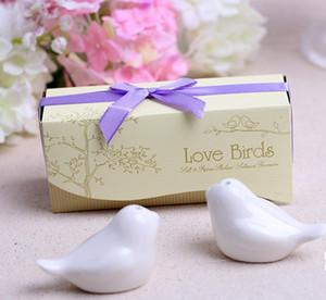 300pcs = 150boxes Regalos de boda de cerámica Favors for Guests Love Birds Sal y pimienta Shakers