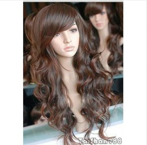 New Fashion Long Brown Curly Cosplay Femmes Lady Cosplay Party Perruque De Cheveux Perruques + Cap