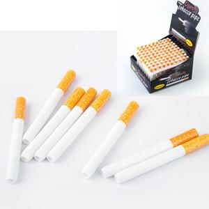 DHL Forme de la cigarette Pipes en céramique cigarette Hitter pipe filtre jaune Color100pcs / boîte 78mm 55mm One Hitter Bat Métal Pipes fumeurs