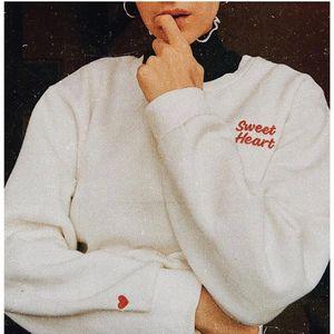 OKOUFEN divertente carino donne ragazza moda pullover dolce cuore felpe vendita calda tumblr instagram grafica stampa top camicia fresco