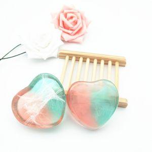 Corpo a forma di cuore Olio essenziale fatto a mano Corpo personale Viso Cura sana Sapone trasparente Fabbricazione di regali artigianali