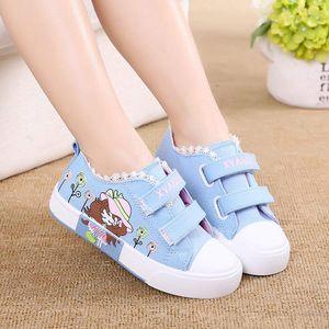 Perakende Moda Çocuk Spor Ayakkabıları Yan Kısım Çiçek Çiçek Bireysellik Bebek Çocuk Tuval Kız Sneaker Ayakkabı