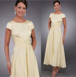 Mãe do vintage da noiva vestidos tampão mangas um comprimento de chá de chá vestidos de festa de casamento plus size noivo os vestidos de mãe noite desgaste formal