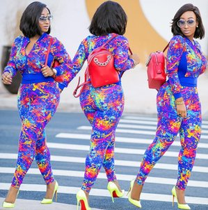 المرأة خمر طباعة 2 قطعة مجموعة الخريف كم طويل تراكسويت مجموعة أزياء سستة سترة قصيرة + السراويل الطويلة نحيل المرأة بدلة رياضية