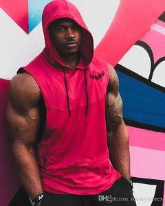 New Summer style Mens Fitness Bodybuilding Hooded Tank Tops Vest clothing sleeveless Sweatshirt male fashion sportswear