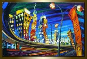 ручная роспись маслом нож городской пейзаж холст картины Леонид Афремов холст стены искусства современной гостиной декоративные картины уникальные