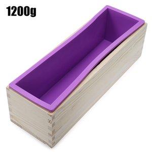 실리콘 비누 빵 금형 유연한 사각형 친환경 재사용 가능한 방수 나무 상자 DIY 도구 (900) 만들기 / 1,200g