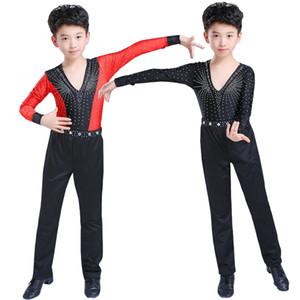 Дети Professional Ballroom Latin Salsa Dance одежда Соревнования костюмы Рубашки Топы Брюки Мальчики Sequined Танцы сценического наряда