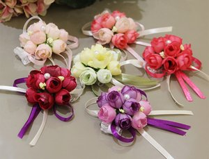 Wholsesle Gelin Bilek Korsaj Çiçek Nedime Sisters El Çiçekler Yapay Ipek Dantel Düğün Parti Dekorasyon Için Gelin Balo