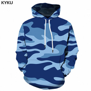 KYKU Blue Camo Hoodies Men Camouflage Hoodie 3d Printed Sweatshirt Pullover Hooded Vintage  Mens Clothing Streetwear New