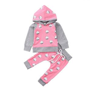 Pudcoco New born Meninas Do Bebê quente de manga comprida de algodão sorriso estrelas impresso Camisola Hoodies Tops Calças Roupas rosa Roupas set
