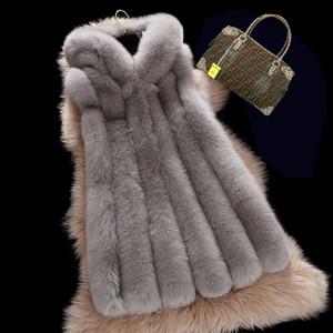 2017 Thick Inverno Quente Brasão Faux Fur Vest Mulheres com pele guarnição capa Outerwear Mulheres Vest Jacket longo Parka 3XL