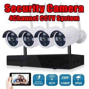 Système de caméra de vidéosurveillance sans fil 4CH 1080P NVR Wifi Kit de caméra de surveillance Vidéo Smart Home Security Kit de caméra IP en plein air