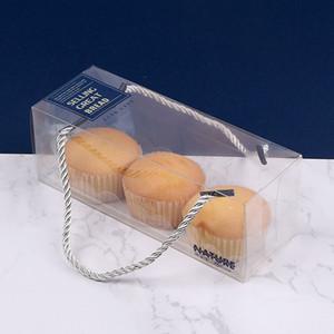Caja de embalaje para hornear PET transparente con mango Caja de pastel transparente transparente portátil Swiss Roll Sushi Packaging