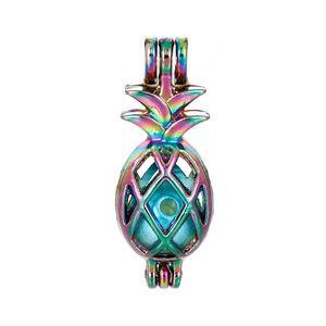 Gökkuşağı Hollow Ananas Kafes Madalyon Renkli Tropikal Meyve Şekli Kolye Charm DIY Parfüm Kokulu Takı 5 adet C68