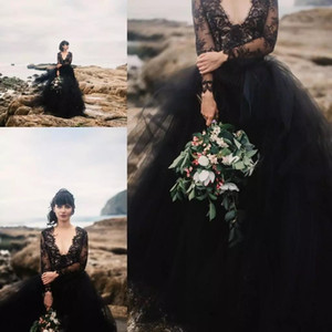 Vintage Black Bohemia Dresses Evening Wear 2018 Sexy scollo a V Illusion maniche lunghe in pizzo Backless Prom Dress Beach Boho Quinceanera Abiti