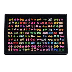 Soft Fruit Mix von Tier Blume Ohrringe Set Kombination 100 Paar Ohrringe Großhandel Hypoallergen Hot Models Cute Animal Ohrstecker