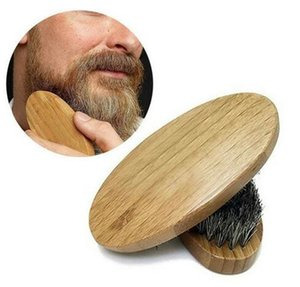 New Arrival Mens Boar Hair Bristle Hard Round Wood Handle Beard Mustache Brush Set maquiagem Free Shipping