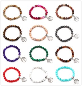 19Color 8mm Natural Stone Beads Bracelet Bracelet Vintage Silver Tree of Life Charms Bangle Jewelry