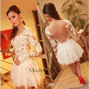 A-line Lace Long Sleeve Homecoming Dresses White Sheer Back Free Shipping Girls Formal Vestidos Party Gowns 2018 Sexy Cocktail Dresses Cheap
