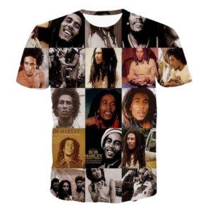 Toptan-Yeni Moda Erkek / Bayan Yaz Tarzı Reggae Bob Marley Komik 3D Baskı Rahat T-Shirt DXR00111