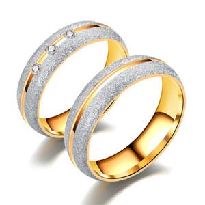 New Couple Jóias anéis CZ casal anéis de cristal para o amante 18 k banhado a ouro de aço Inoxidável anel de casamento dos homens mulheres partido vestido de presente