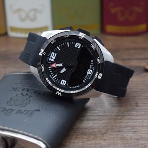 Homens novo estilo Sports Watch inoxidável revestimento de aço correia de borracha bateria Quartz Dois exibição de tempo de alta qualidade relógio de pulso T091420A