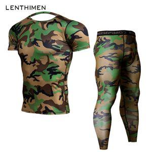 2018 Crossfit Setleri Sıkıştırma Gömlek Erkekler Ordu Yeşil Camo 3D T Gömlek MMA Rashguard Vücut Tayt Spor T-Shirt Joggers