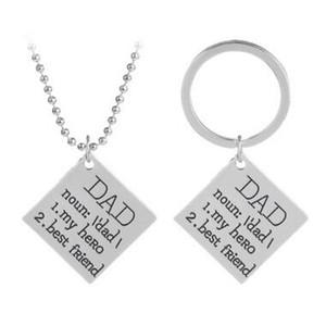 Liebe VATI mein Held bester Freund-Halsketten-Schlüsselkette-Buchstabe-Vater-Sohn-Tochter-Liebe-Anhänger-Kette Vatertag keychains