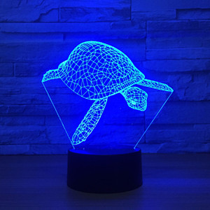 Sear Turtle 3D optische Täuschungs-Lampen-Nachtlicht DC 5V USB trieb 5. Batterie-Großverkauf Dropshipping an Freies Verschiffen