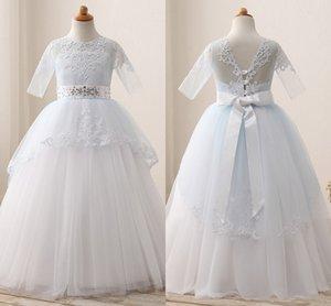 Nuovo a buon mercato in azione Blue Ball Gown Flower Girls 'Mezze maniche in pizzo Appliqued che borda principessa ragazze abiti da festa con telaio MC1532