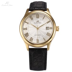 IMPERIAL KS Auto Date Display Roman Numerals Stainless Steel Gold Case Leather Strap Self Wind Clock Men Mechanical Watch  KS241 C18111601