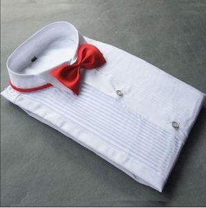 Alta Qualidade Algodão Noivo Camisas de Manga Longa Melhor Homem Camisa de Manga Comprida Camisa Branca Noivo Acessórios 01